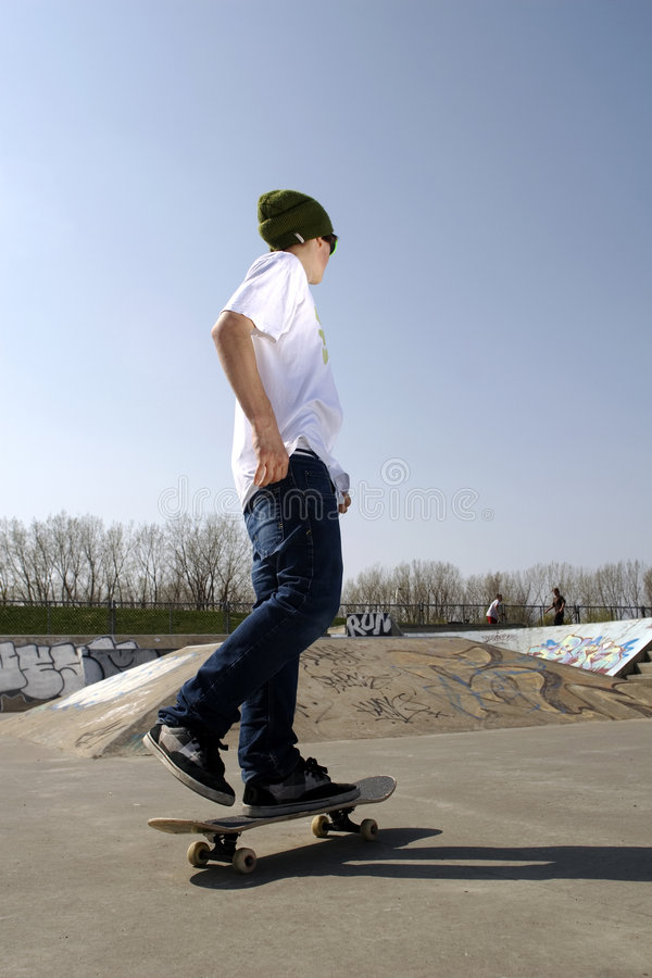 Download Lone skateboarder stock image. Image of leisure, concrete - 5286167
