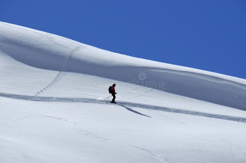 Download Lone skier off trail stock photo. Image of leisure, powder - 13354862
