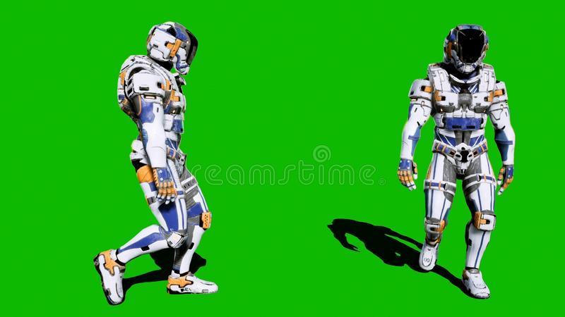 A lone soldier of the future walking on a green screen background. 3D Rendering. A lone soldier of the future walking on a green screen background stock images