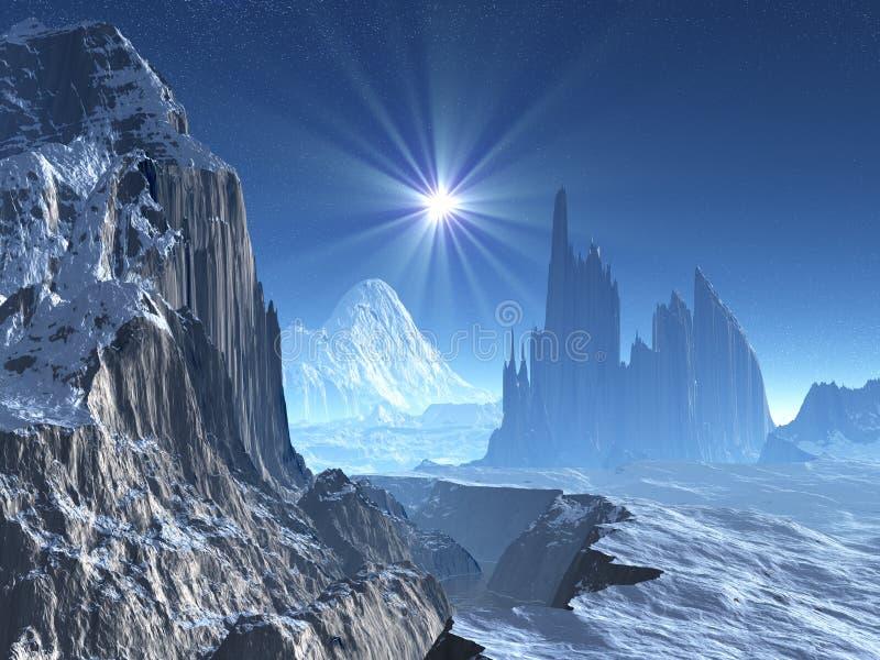 Lone Star Over Alien Winter World vector illustration