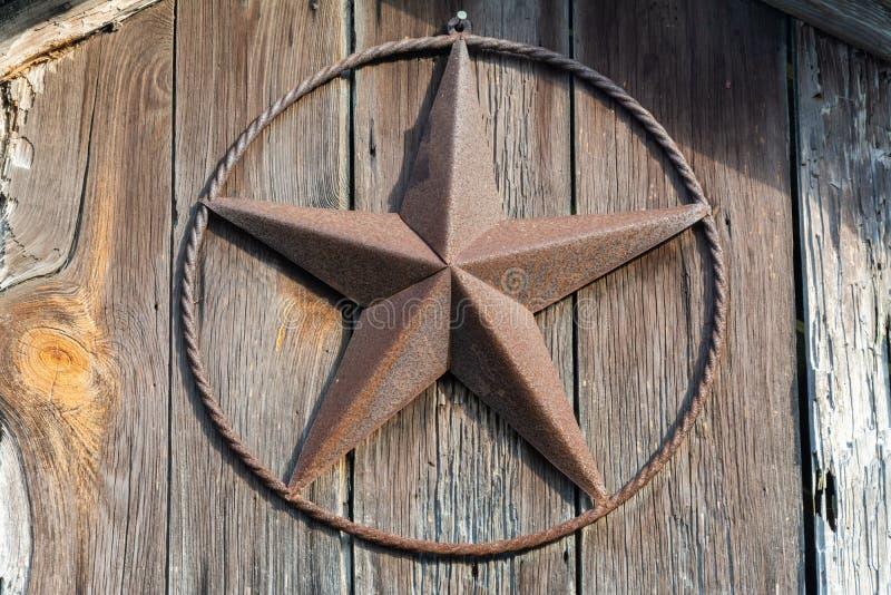 Lone Star tecken på en trädörr i Texas fotografering för bildbyråer