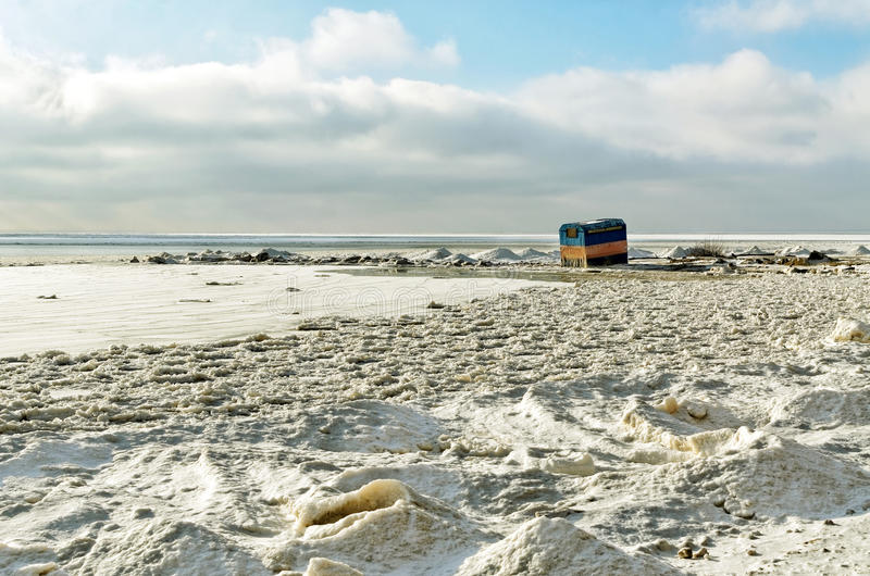 A lone tent on the shore royalty free stock photo
