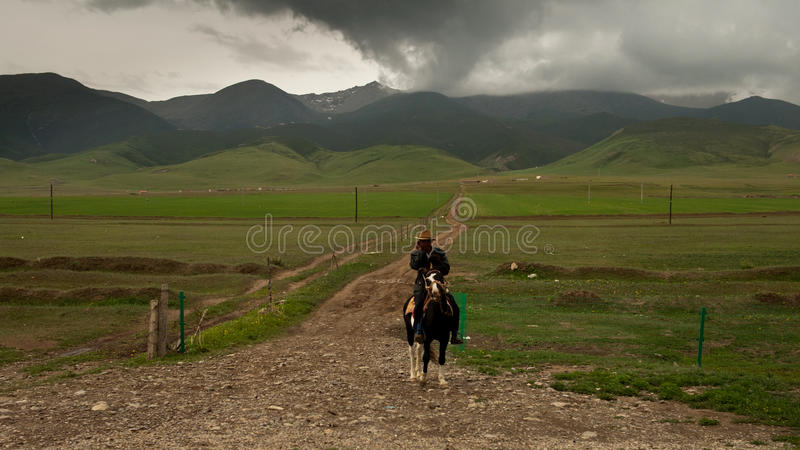 Lone Tibetan Rider Editorial Image
