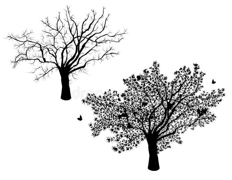 Lone tree - set vinter och sommar stock illustrationer