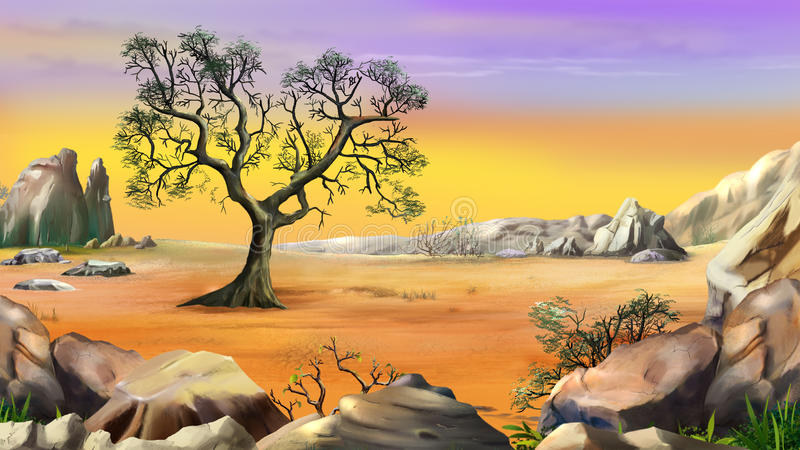 Lone Tree Surrounded by Mountain Under Yellow Sky stock illustration