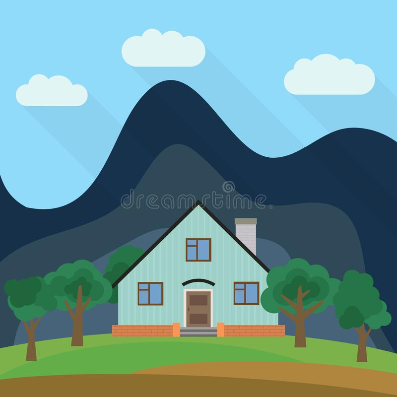 Lone two-storey house in the background of a mountain with green trees. royalty free illustration