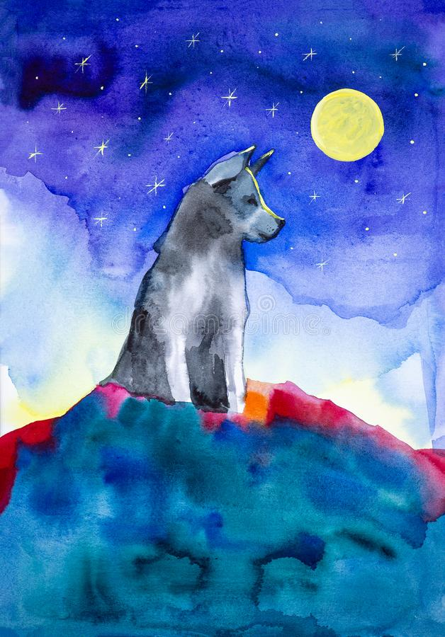 A lone wolf sits on top of a mountain in the light of a full moon and a clear starry sky. Watercolor illustration royalty free illustration