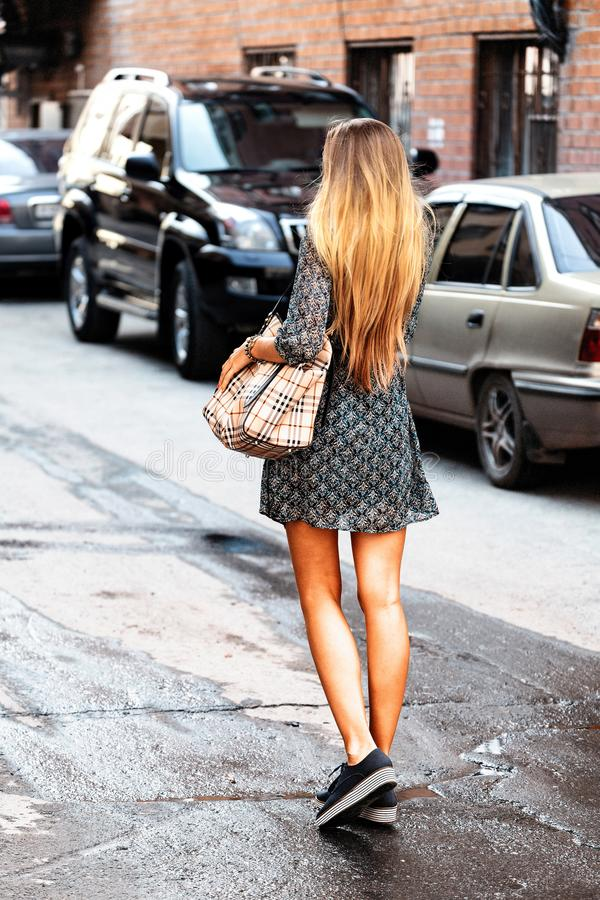 Lone woman on a backstreet stock photos