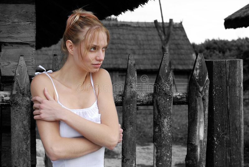 Download Loneliness stock photo. Image of gate, thinking, blond - 2977152