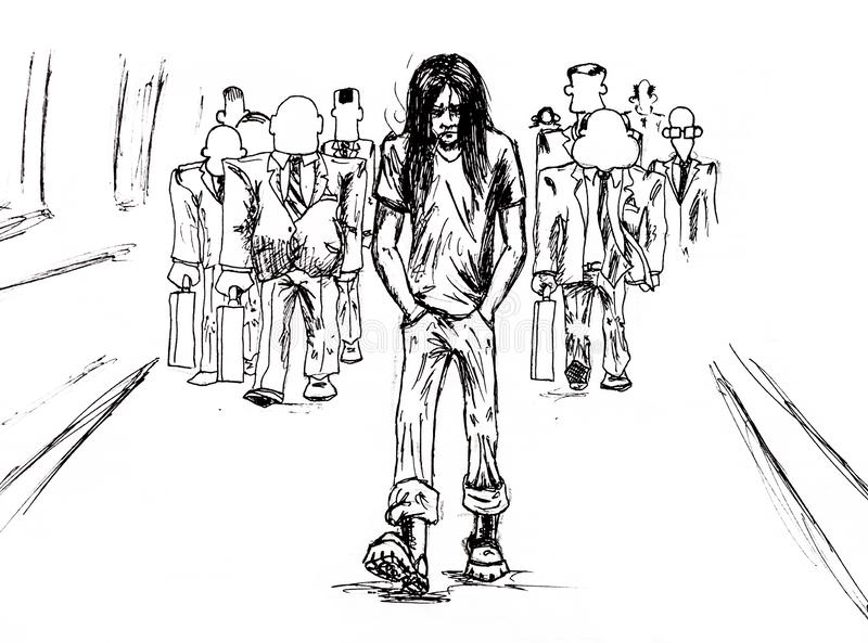 Loneliness in the crowd, and he is one special. The guy in the berets and long hair goes away from the faceless crowd. Loneliness in the crowd, and he is one royalty free illustration