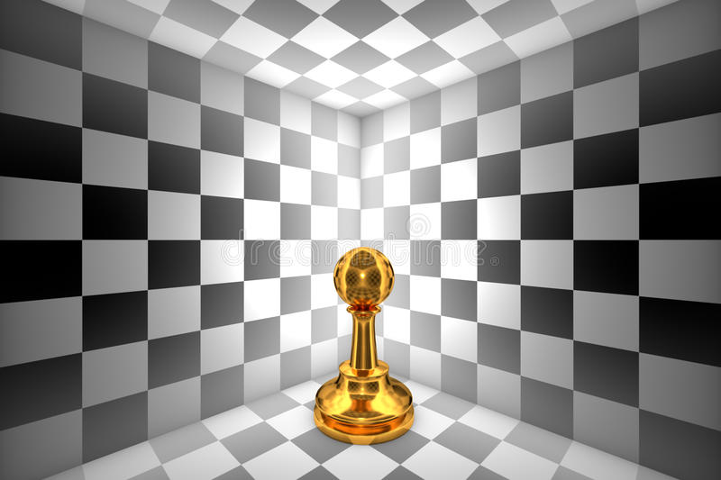 Loneliness (gold pawn-chess metaphor). 3D illustration rendering. Gold pawn in black and white square. 3D illustration rendering royalty free illustration