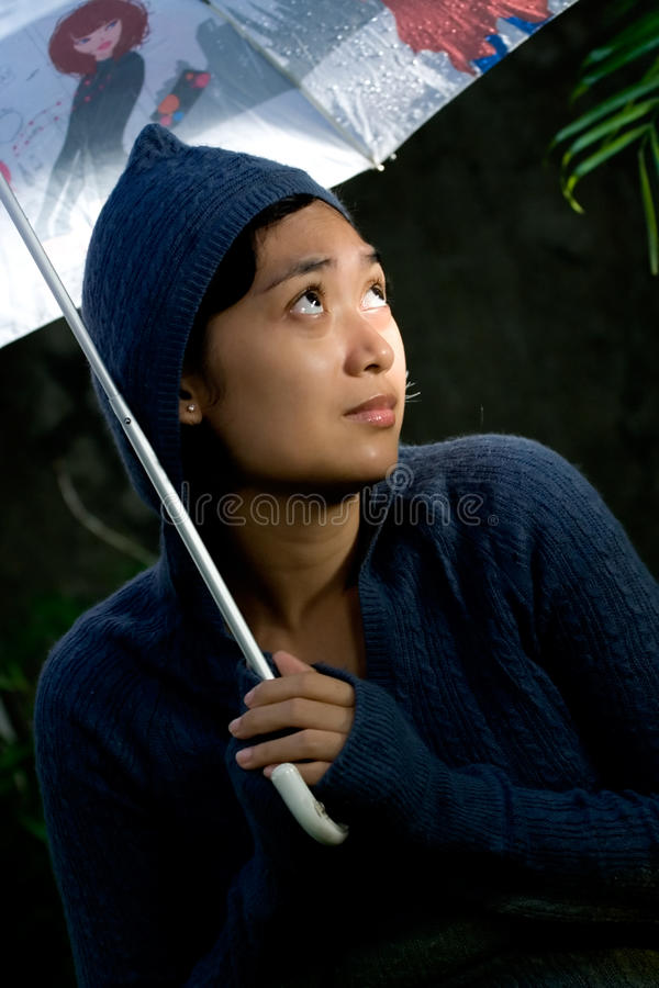 Loneliness and insecure woman stock photography
