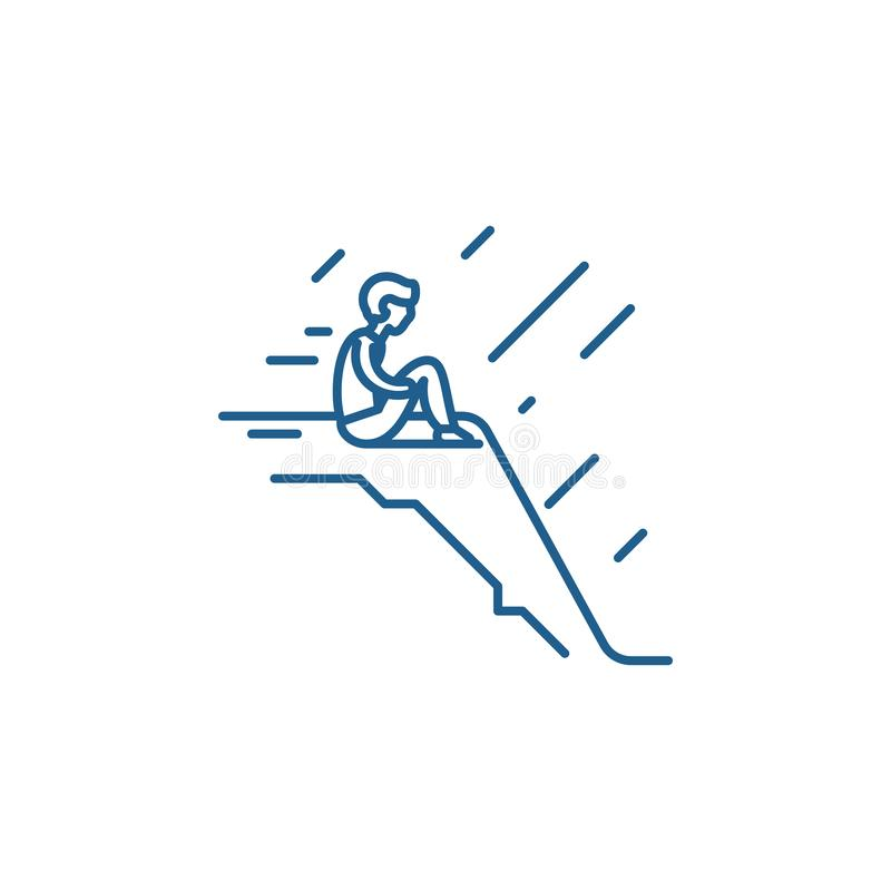 Loneliness line icon concept. Loneliness flat  vector symbol, sign, outline illustration. royalty free illustration