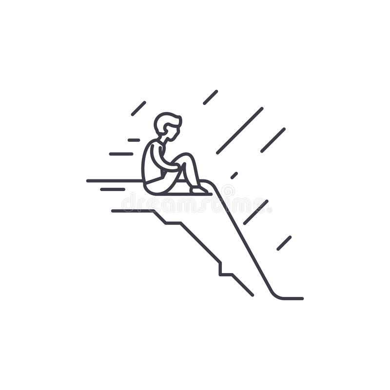 Loneliness line icon concept. Loneliness vector linear illustration, symbol, sign. Loneliness line icon concept. Loneliness vector linear illustration, sign vector illustration