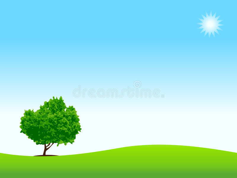 Download Loneliness, tree on meadow stock vector. Image of painting - 5359227