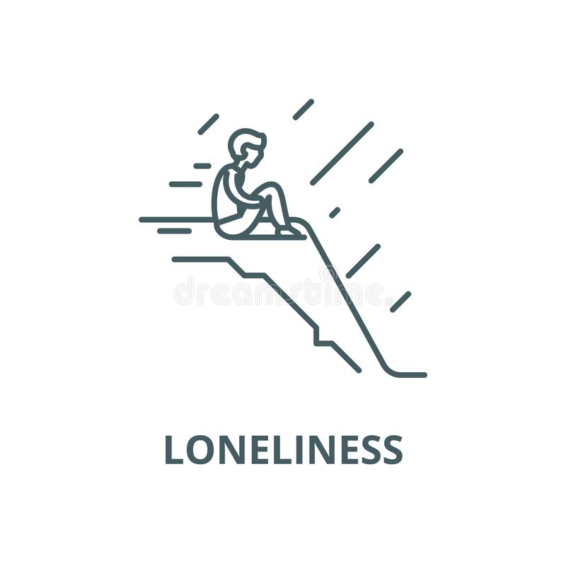 Loneliness vector line icon, linear concept, outline sign, symbol stock illustration