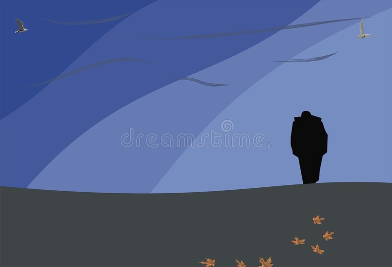 Lonely. Man walking from somewhere to nowhere vector illustration