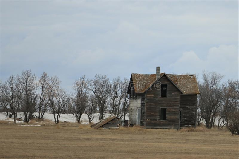 Lonely abandoned house. In Saskatchewan Canada April 2019 stock photo
