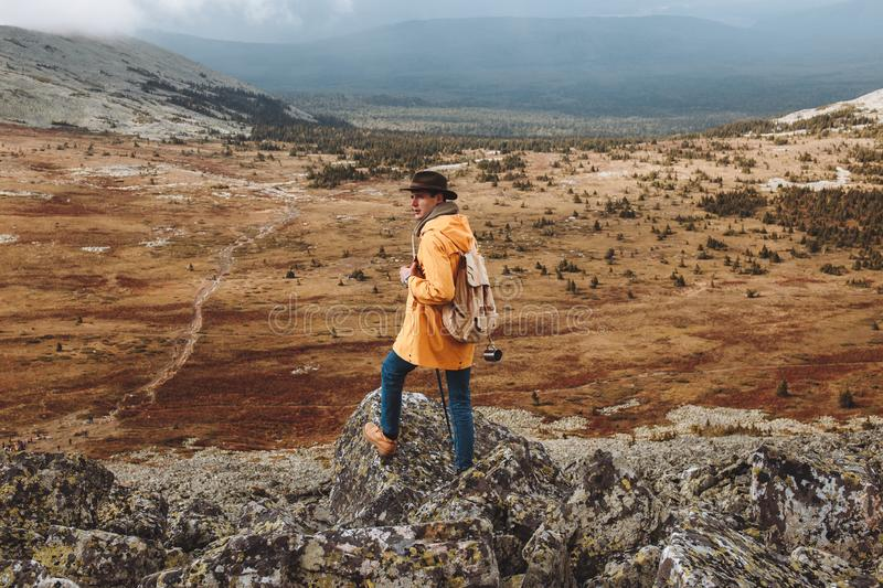 Lonely advanturous man looking back royalty free stock images