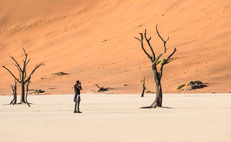 Lonely adventure travel photographer at Deadvlei crater in Sossusvlei stock photos