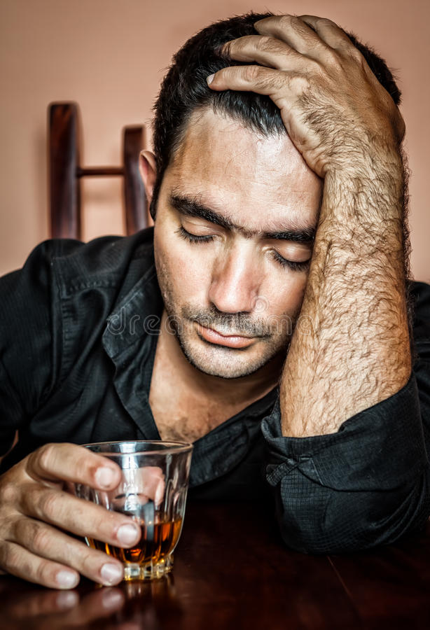 Free Lonely And Desperate Drunk Hispanic Man Stock Images - 30763834