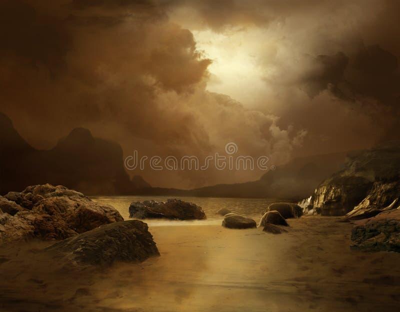 Download Lonely beach stock illustration. Image of wallpaper, seasonal - 14825705