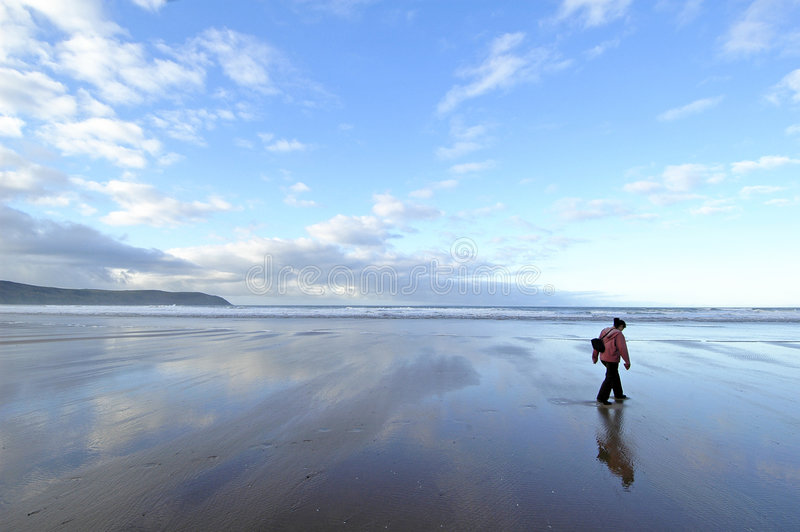 Download Lonely on Beach stock image. Image of walking, devon, england - 71323