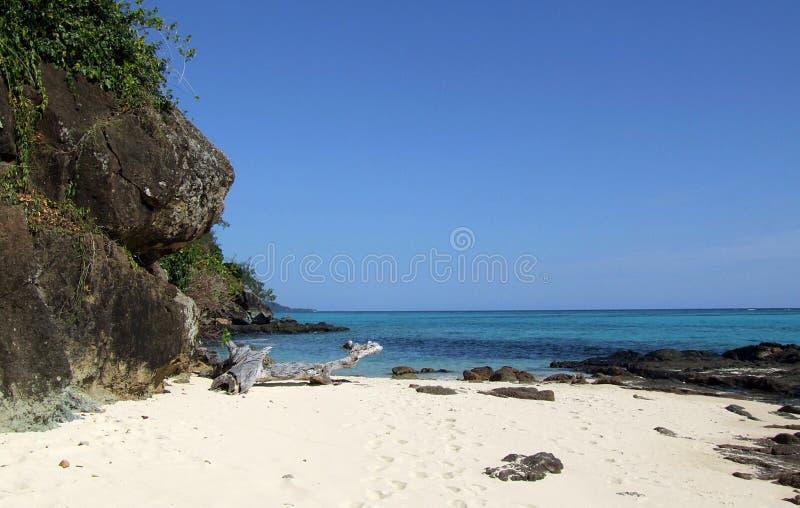 Lonely beach on Mana Island royalty free stock photo
