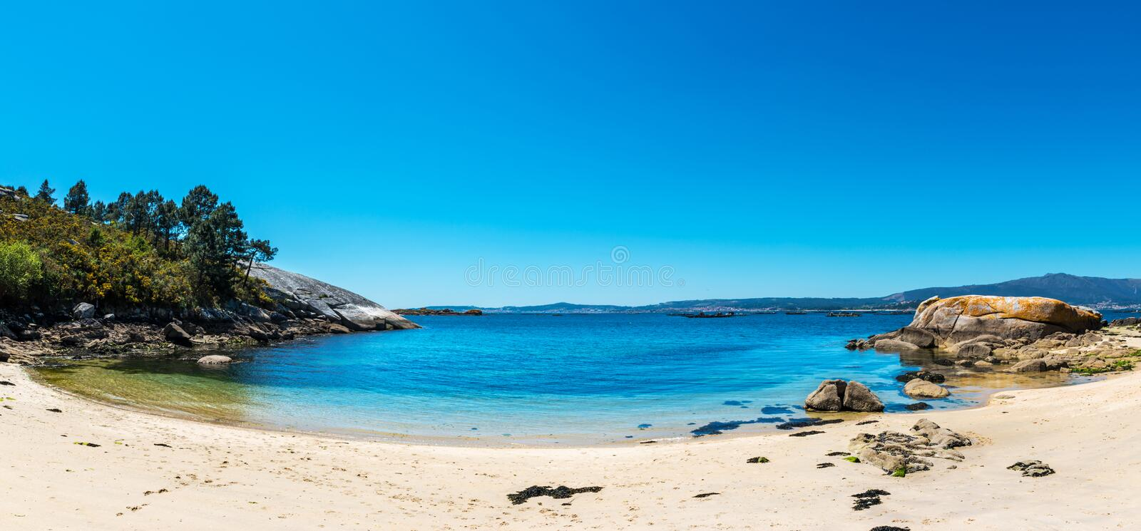 Lonely beach in the Rias Baixas, Galicia stock photography