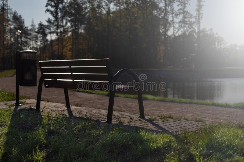 A lonely bench in the Park stock images