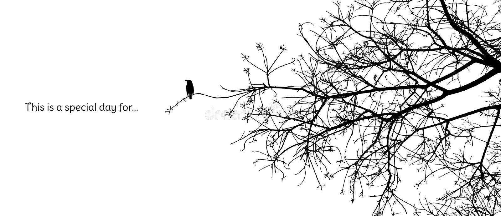 Lonely bird stands on a branch of a naked tree silhouette. In black and white vector format with a caption vector illustration