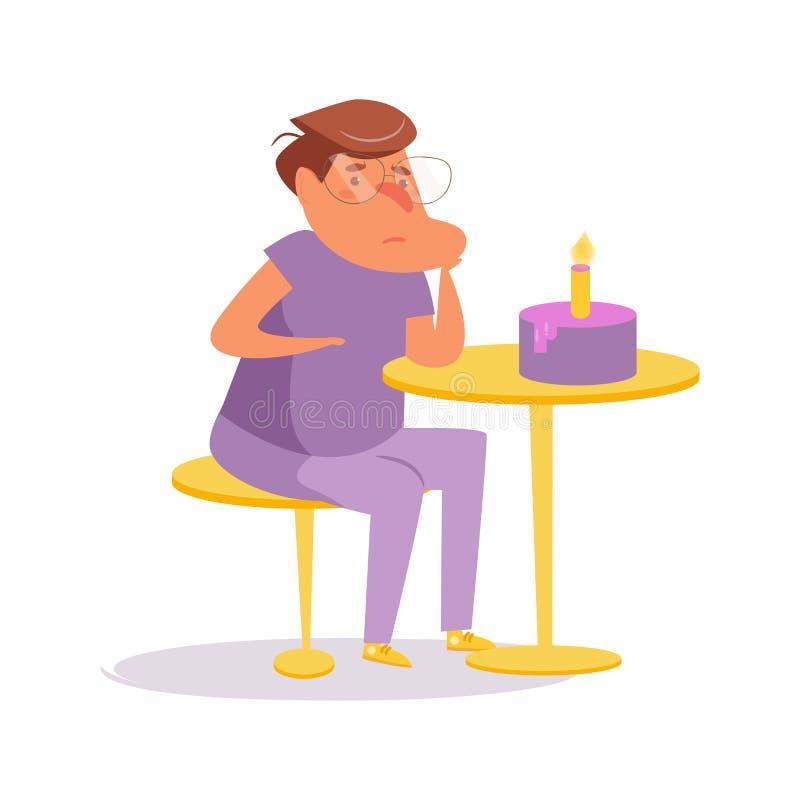 Lonely birthday Vector. Cartoon. Isolated art Character Man vector illustration