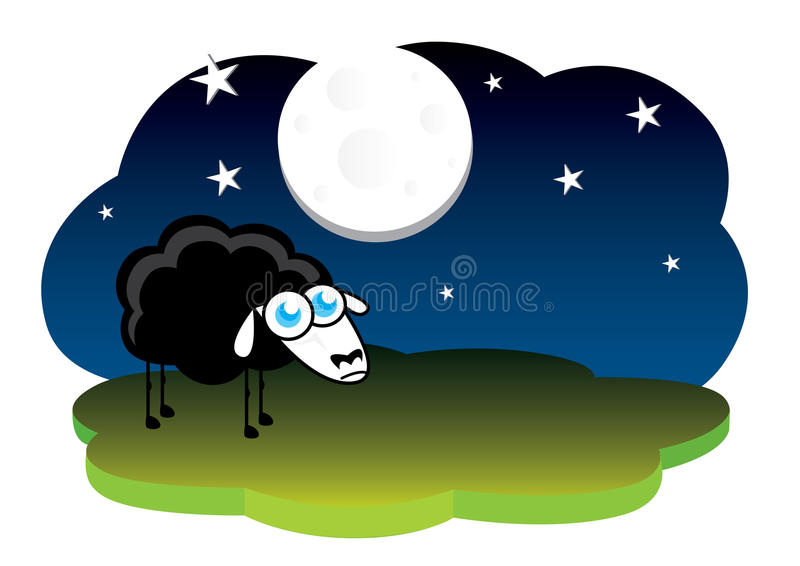 Lonely Black Sheep Stock Photography