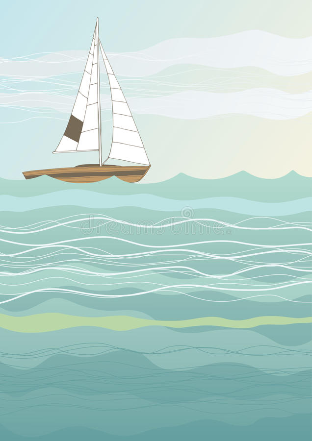 Lonely Boat. Illustration of lonely boat in the sea vector illustration