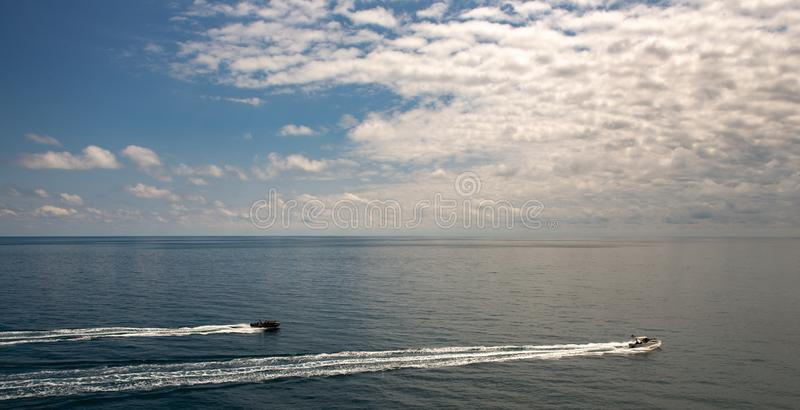 Lonely boat in the Black Sea Cove. Lonely boat in the Sea Cove stock photo