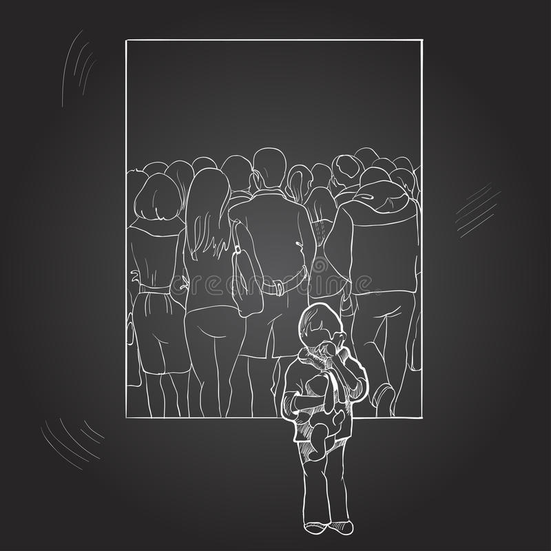A lonely boy among a crowd of people. Drawing by hand on a chalkboard. royalty free stock photography