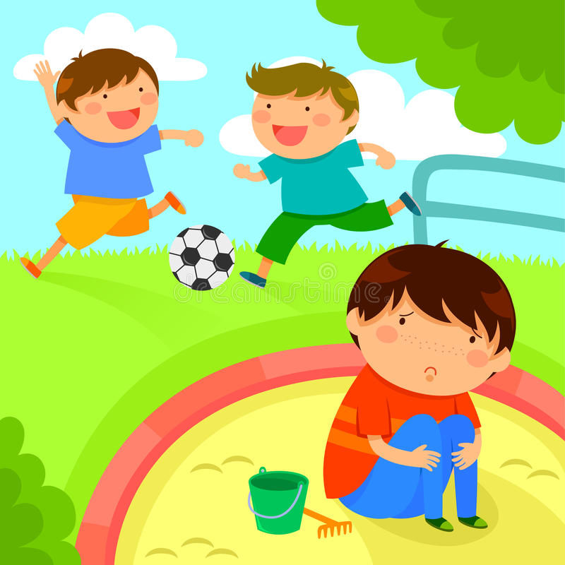Lonely boy. Sad lonely boy looking at kids playing together vector illustration