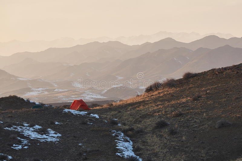 Lonely camping tent stock image
