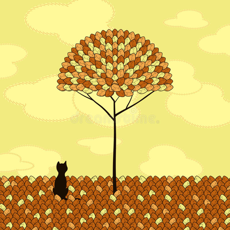 Lonely cat and tree. Vector illustration vector illustration