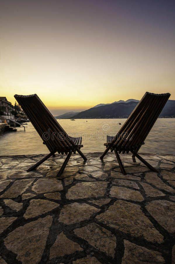 Download Lonely Chairs At The Seaside Of Montenegro Stock Photo - Image: 26560492