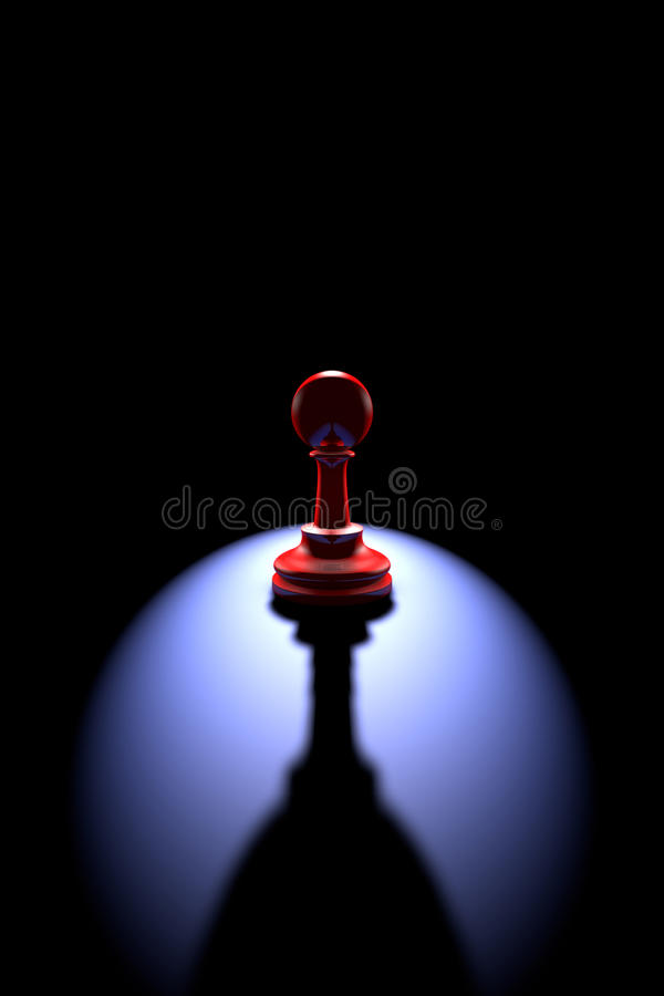 Lonely chess piece (pawn - a wine glass). Red pawn (silhouette) on a dark background art. Backlight and deep shadow vector illustration