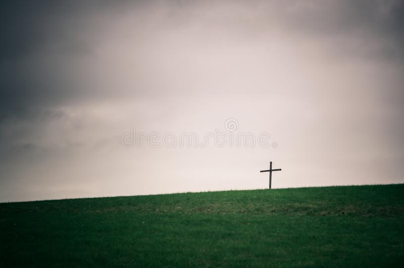 Lonely cross on the horizon series royalty free stock photos