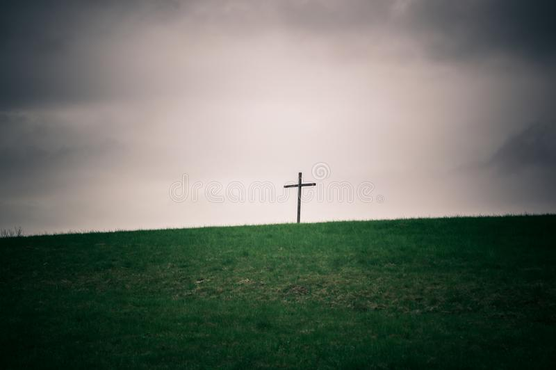 Lonely cross on the horizon series royalty free stock photography