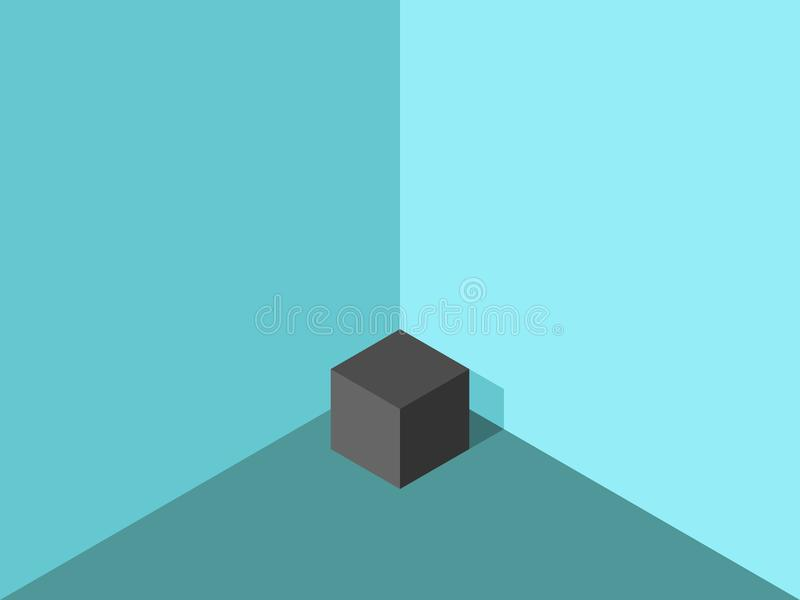 Lonely cube in corner stock illustration