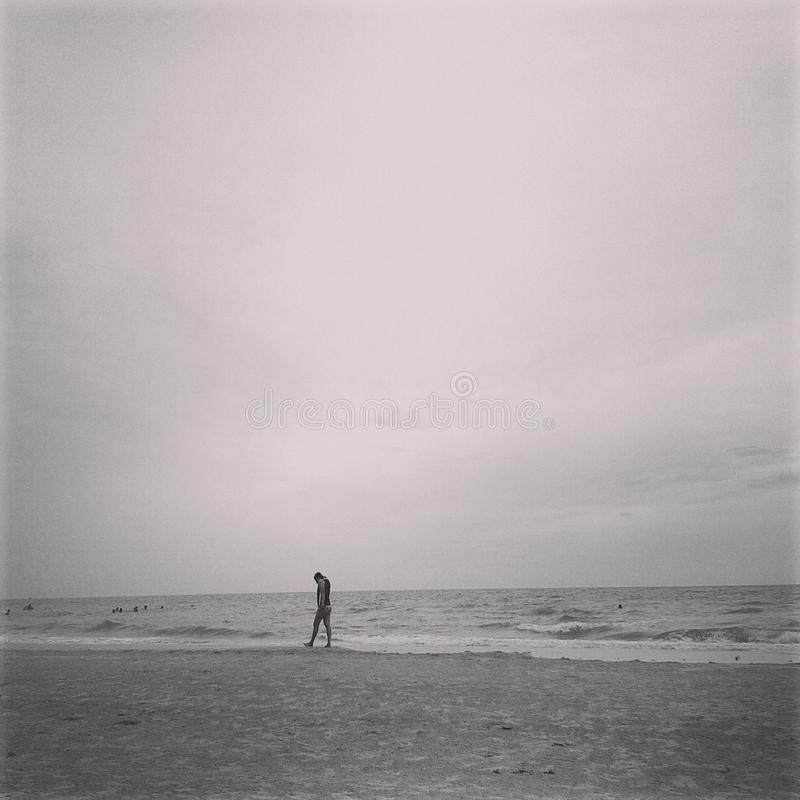 Lonely day at the sea stock photography