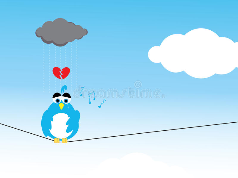 Lonely and Depressed. A lonely broken-heart depressed bird, down in the luck with sad musical notes and dark overcast cloud raining over him although it's a stock illustration