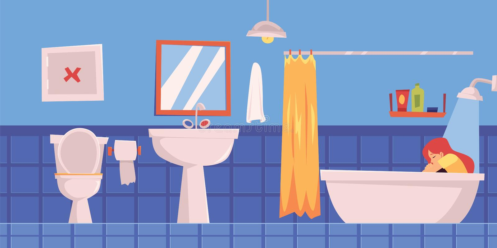 Lonely depressed woman or girl sitting in bathroom flat vector isolated on white. stock illustration