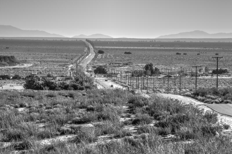 Lonely Desert Highway in Palmdale, California stock photo