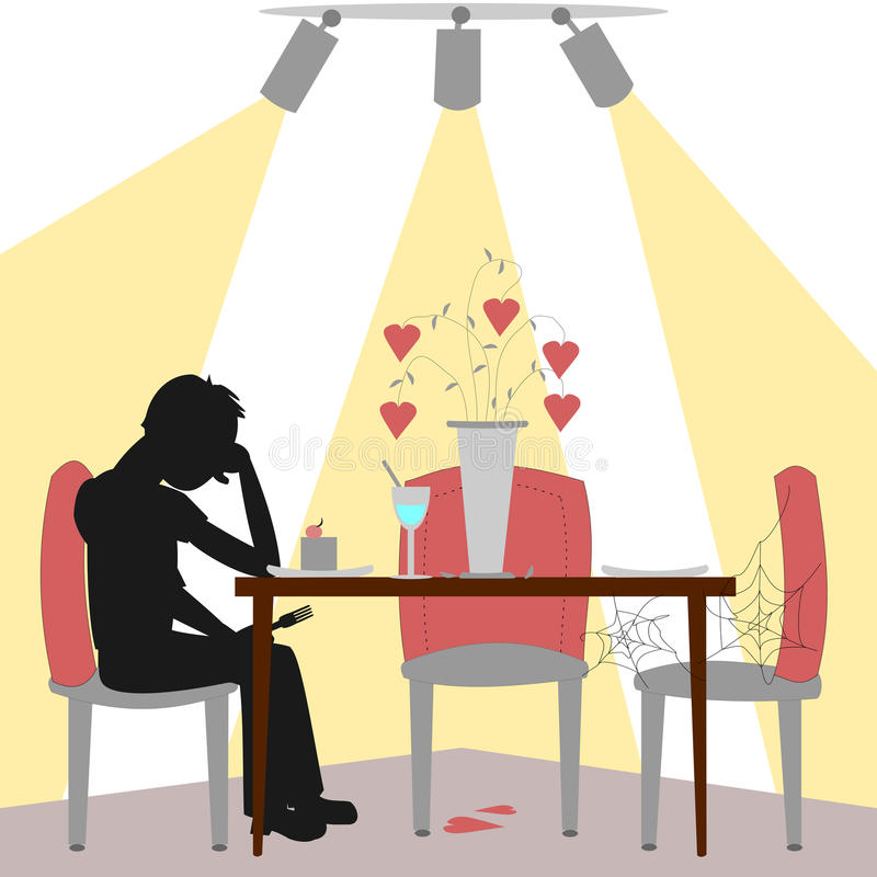 Lonely diner. A lonely man sits at a table with no one to share his life with. A bouquet of hearts is fading and the man is sad stock illustration