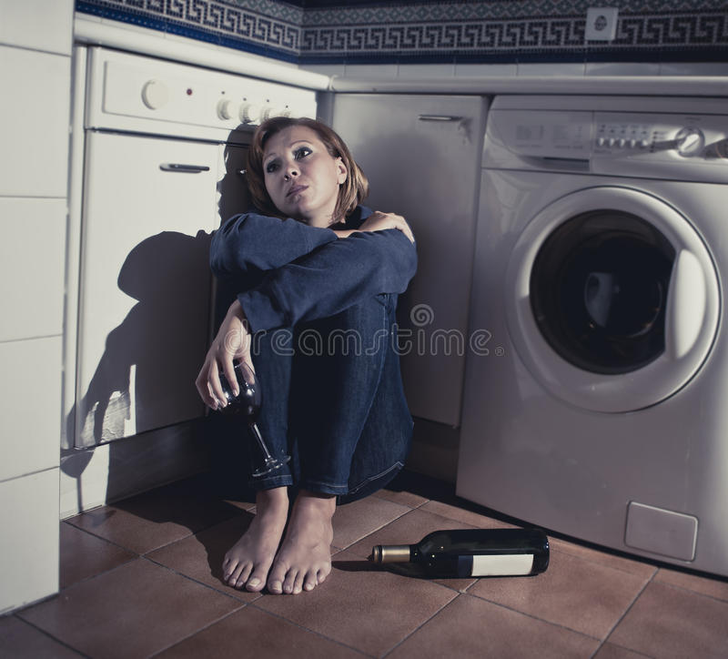I Cried For You On The Kitchen Floor: Lonely Drunk Alcoholic Woman Sitting On Kitchen Floor In